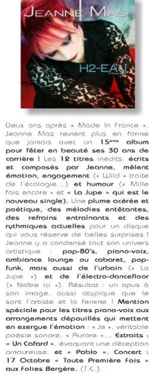 "NEWS PRESSE - Critique de l'album ""H2-eau"""